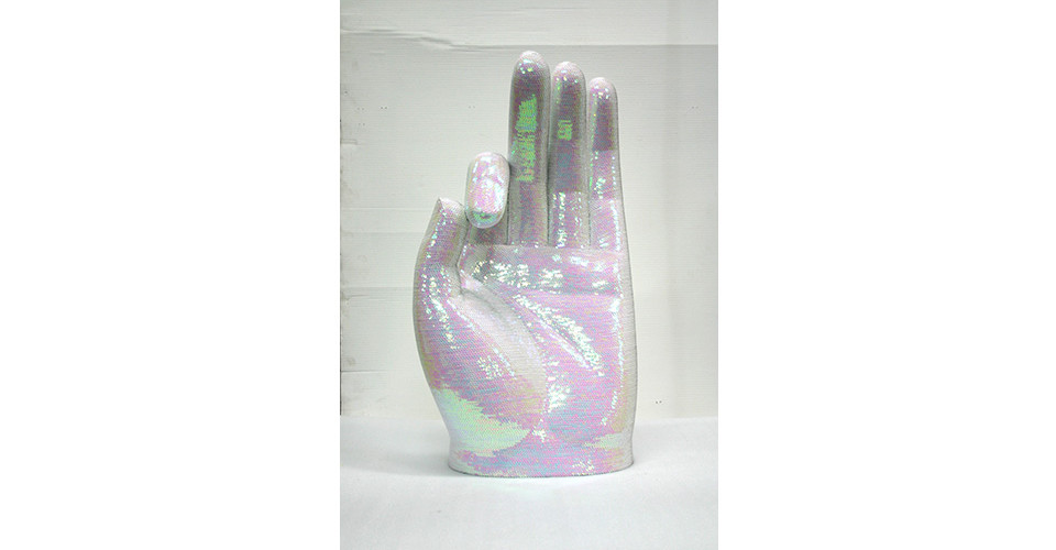 Noh, Sang-Kyoon, The Glove of Buddha, 2003, sequins on Buddha hand of polyester resin and fiberglass, 74.5 x 42.5 x 26.5 cm