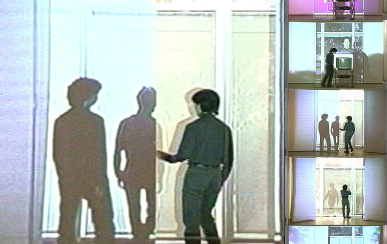 The Shades, 2001, Performance with color Video projection and sound, TV monitor