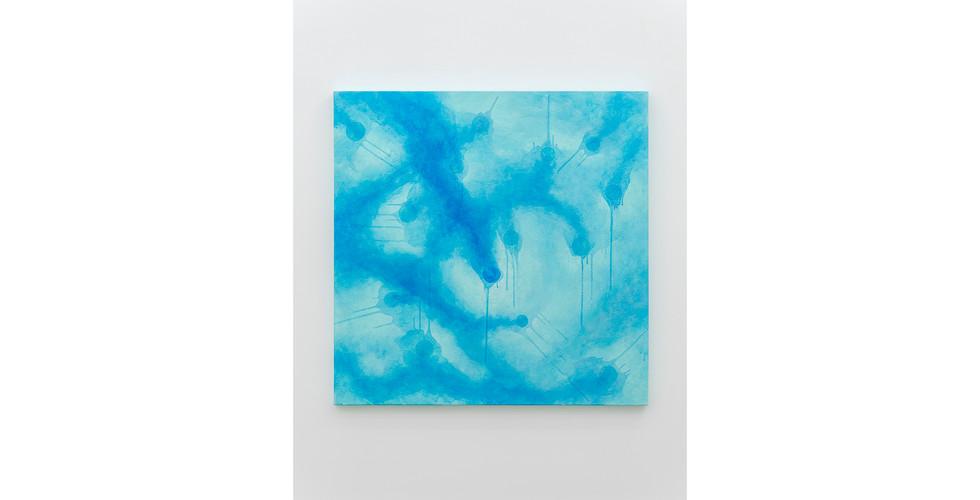 Particles, 2020, acrylic & phosphorescent pigment on canvas, 107 x 107 cm