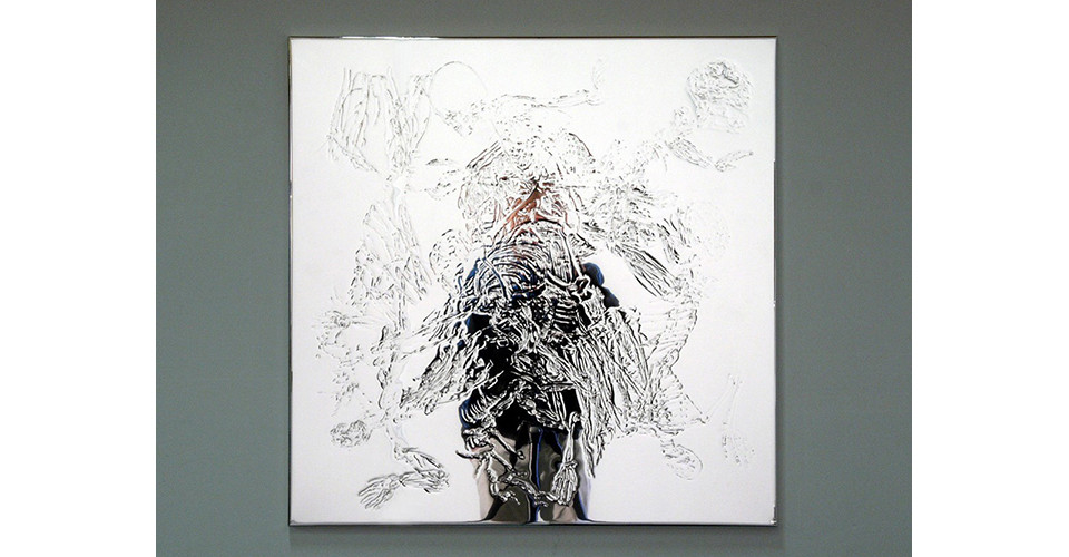 Portrait-in Narcissus, 2009, pressed line drawing on plastic mirror, 79 x 79 cm