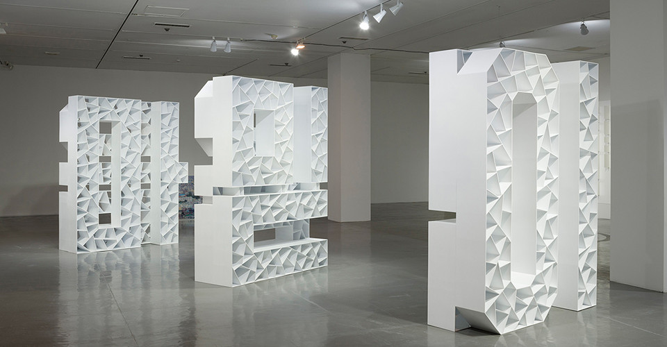 Installation view of Mind, Belief, Ism at MMCA, 2014, ABS, photograph print on translucent panel, 240 x 180 x 63 cm