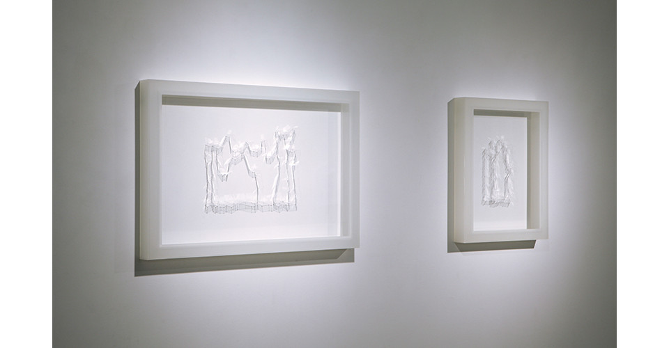 Writing, 2014, polycarbonate, 75 x 51 cm, Writing 1, 2014, polycarbonate, 42 x 51 cm