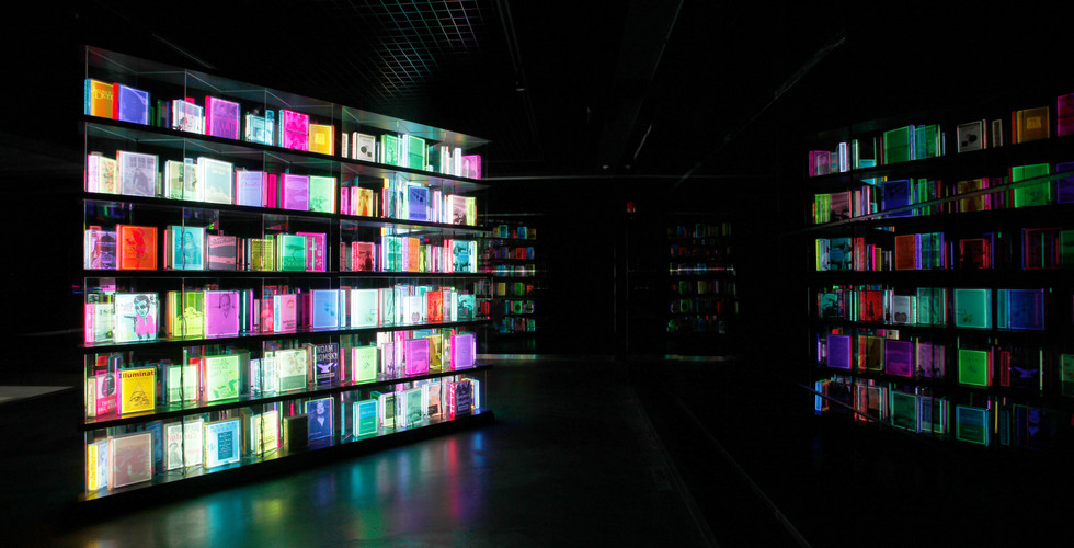 Installation view of Light Reading, Lighting Books, The National Library of Korea, 2012