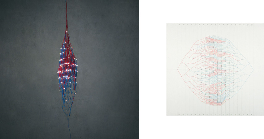회로에서 - 127번의 만남 (On the Circuit - 127 Rendezvous), 2011, electric wire+LED, 30 × 30 × 168 cm