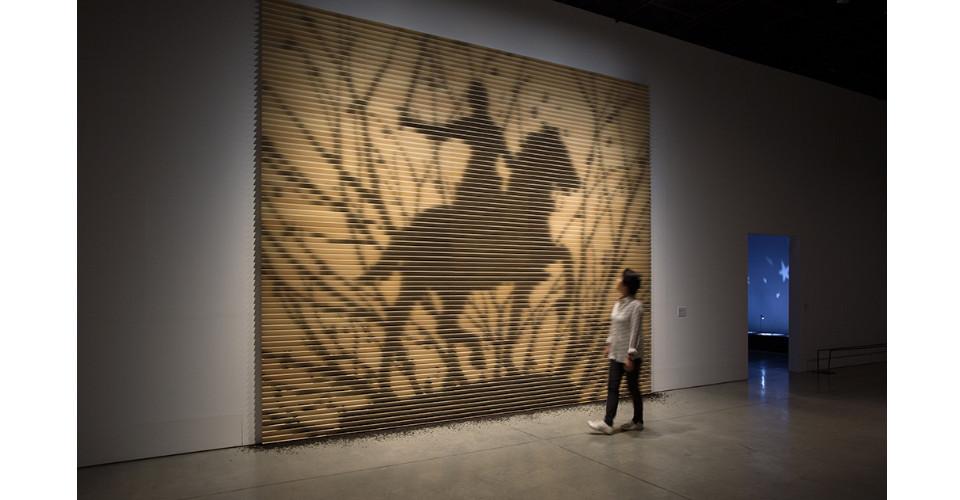 Tea Shadow, 2017, Tea leaves fixed on wooden panels, 400x500cm