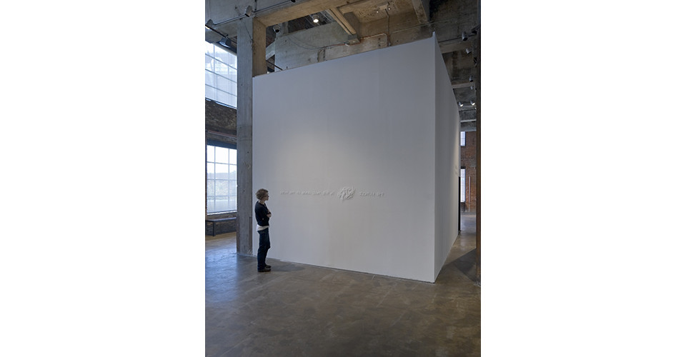 Installation view of Mutable Love, Beauty, Belief, Meaning, Form, Memory in the True Sense of the Word at Smack Mellon, 2008, upheaval drawing on wall, polycarbonate, 40 x 300 x 5 cm, New York, USA