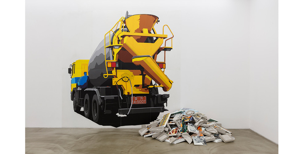 Ready Mix Concrete, 2013, self adhesive vinyl on corrugated plastic sheet, 350 x 330 cm, Fragments, 2014-5, mixed media on insulation foam board and styrofoam, size variable