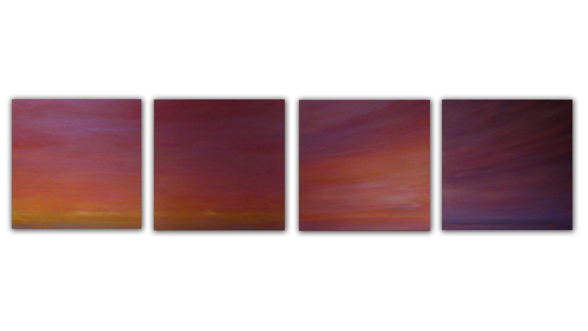 Beyond the Sunset, 2011, acrylic on wood panel, 46 x 46 cm each
