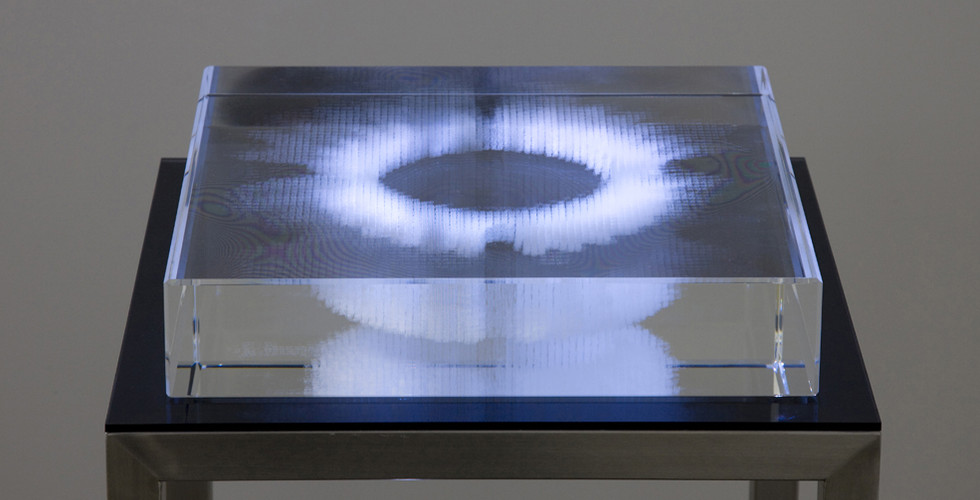 Bits in Square, 2008, crystal, stainless steel, video projection, 96 x 35 x 35 cm