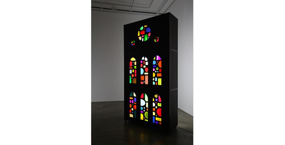 Holy Light, 2014, plastic objects, MDF, metal frame, wooden panel, LED lighting, 276 x 140 x 50 cm