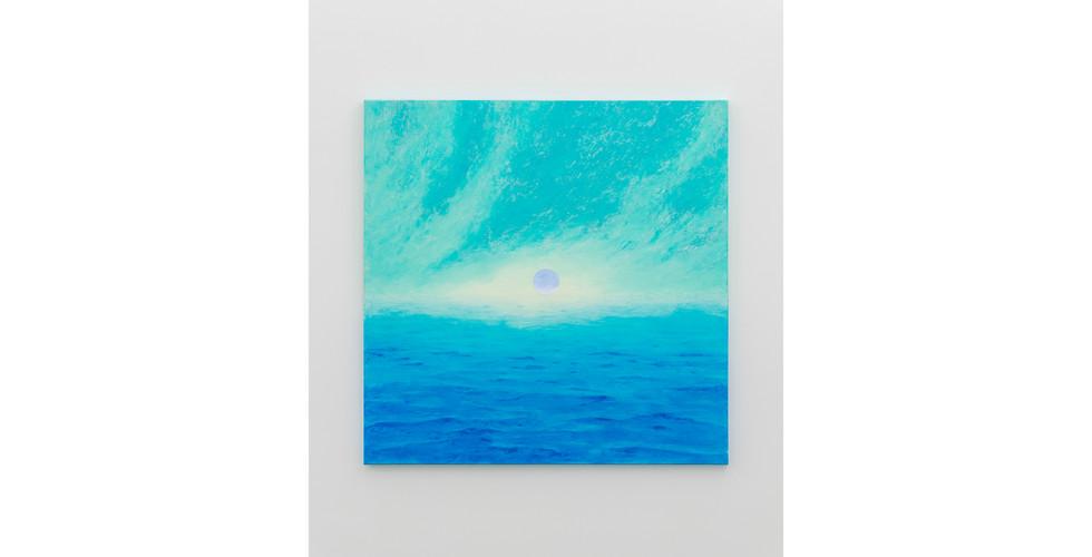 A Particle over the Horizon, 2020, acrylic & phosphorescent pigment on canvas, 137 x 137 cm
