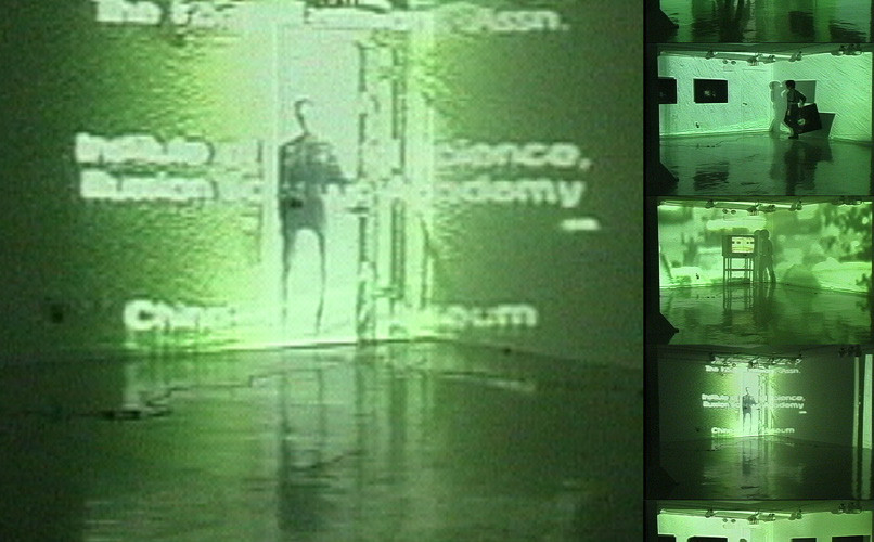 Gallery Korea-Park Avenue, 2000, Performance with color Video projection and sound, TV monitor