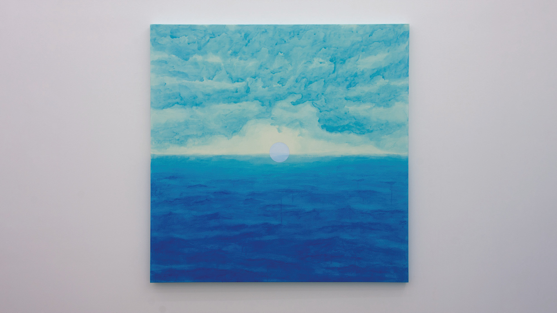 A Particle over the Horizon, 2020, acrylic & phosphorescent pigment on canvas, 145 x 145 cm