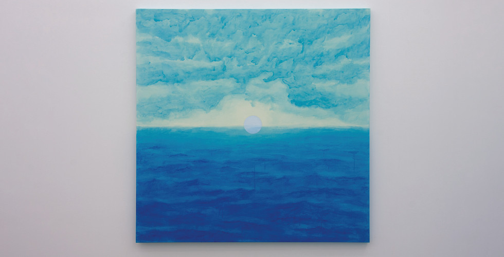 A Particle over the Horizon, 2020, acrylic & phosphorescent pigment on canvas, 145 x 145 cm