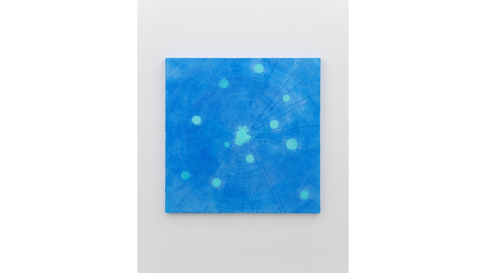 The Sagittarius with Particles, 2020, acrylic & phosphorescent pigment on the work of sequins on canvas, 107x107 cm