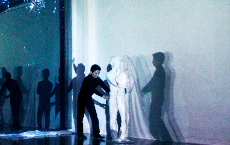 The Veil, 2011, Performance with color Video projection and sound, fabric