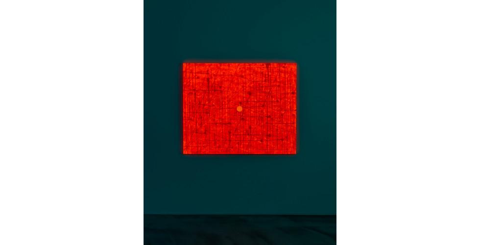 A Particle, 2020, acrylic & phosphorescent pigment on canvas, 130 x 162 cm