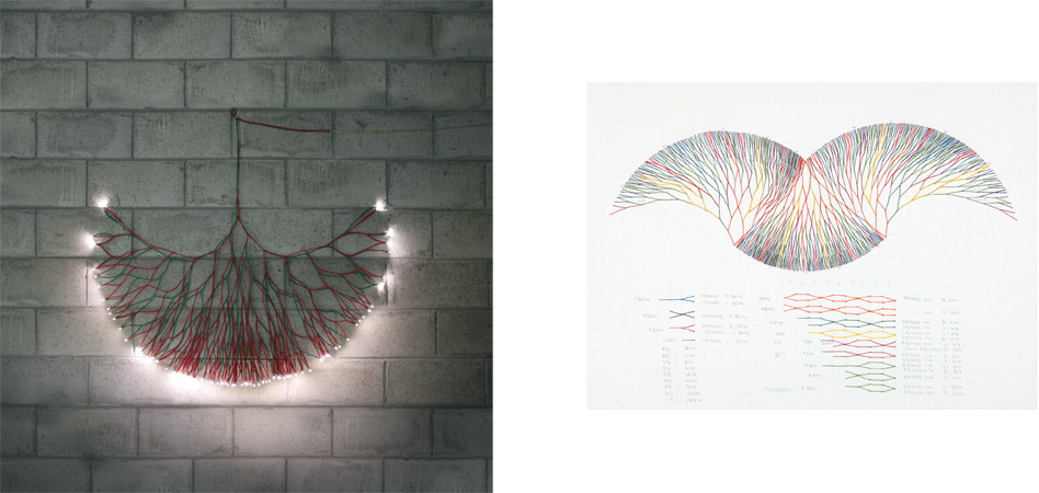 회로에서 - 88번의 만남 (On the Circuit - 88 Rendezvous), 2011, electric wire+LED, 70 × 120 cm