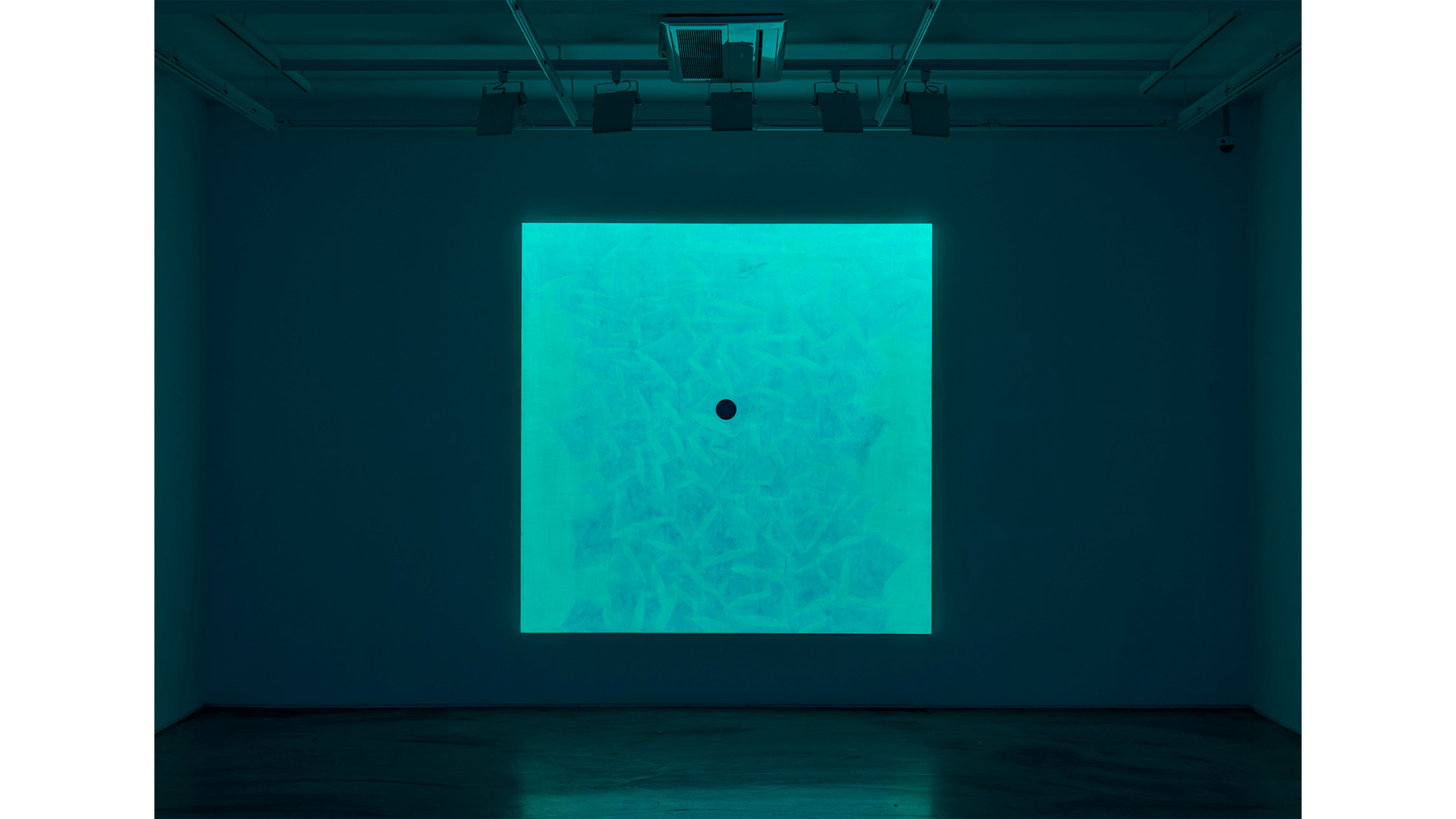 The Field-Cloud with a Particle, 2020, acrylic & phosphorescent pigment on linen, 218x218 cm