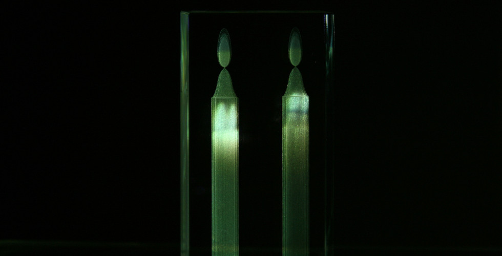Candlelight, 2007, crystal, video projection, 12.5 x 6.7 x 3 cm