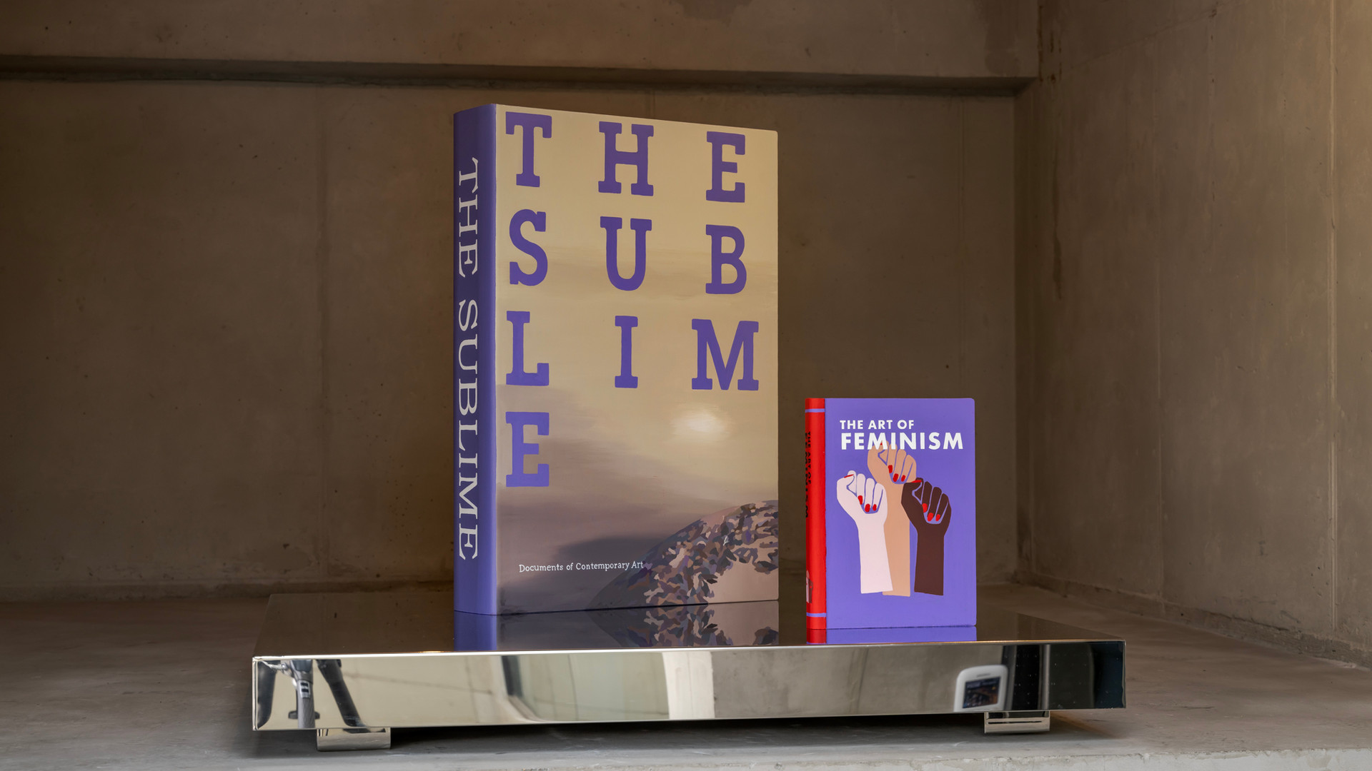 The Sublime, 2012, Acrylic on plexiglas, 41 x 58.5 x 10.5 cm(left), The Art of Feminism, 2020, Acrylic on canvas, Plexiglas, 18.1 x 24 x 2.9