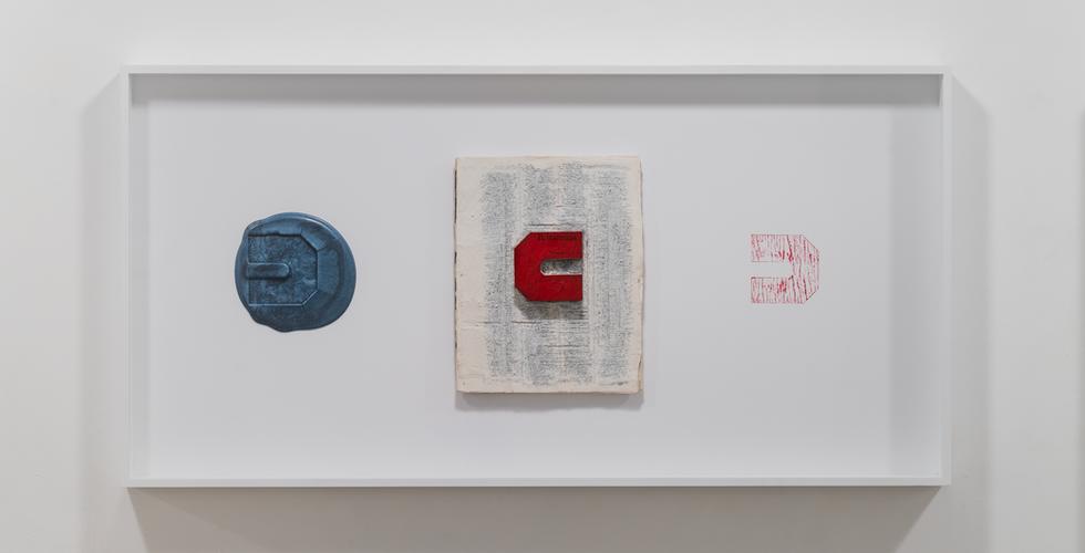 .마음 - 음 - 1, 2020, britannica, paraffin, stamp ink, 97 x 49 cm
