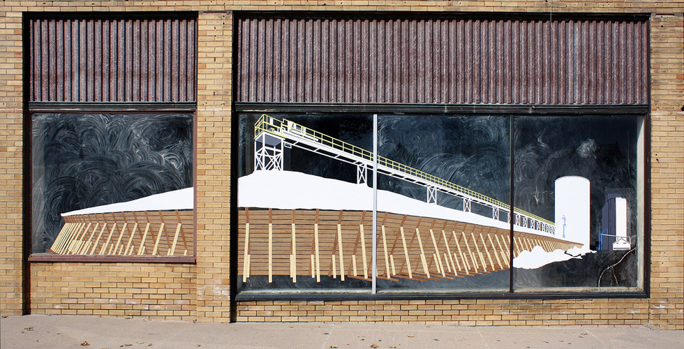The Stadium of Corn, 2010, contact paper and masking tape on window, 223 x 793 cm