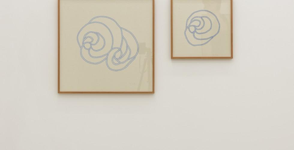 넝쿨, 2017, 천에 펜, 58.5x58.5, 37.5x37.5cm