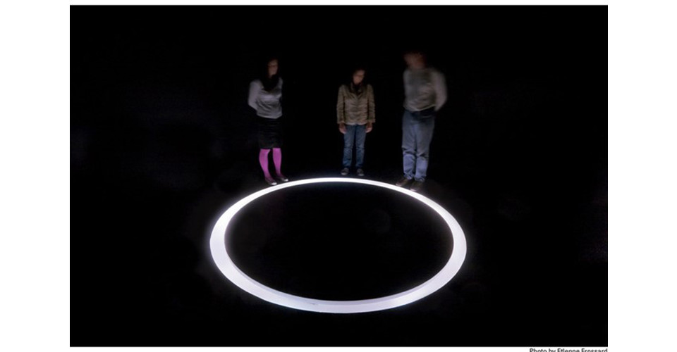 Decoded Love, 2006-7, Five-channel video installation, sound, 5 TV monitors, 5 DVDs, circle structure (diameter 240 cm) in a dark room, drawings on a wall, This event made possible with public fund
