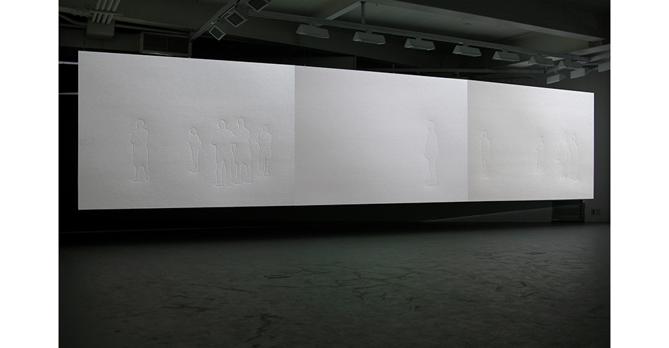 Installation view of Invisible Masterpiece at Insa Art Space, 708 pressed line drawings on paper, 3 video projector, Seoul, Korea
