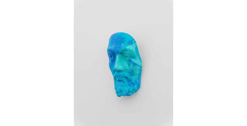 Jesus Mask, 2020, acrylic & phosphorescent pigment on the work of sequins on polyester resin & fiberglass, 31 x 18 x 11 cm