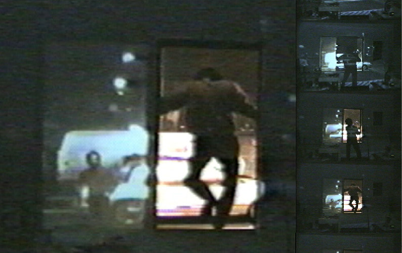 In the Window II, 1999, Performance with color Video projection and sound
