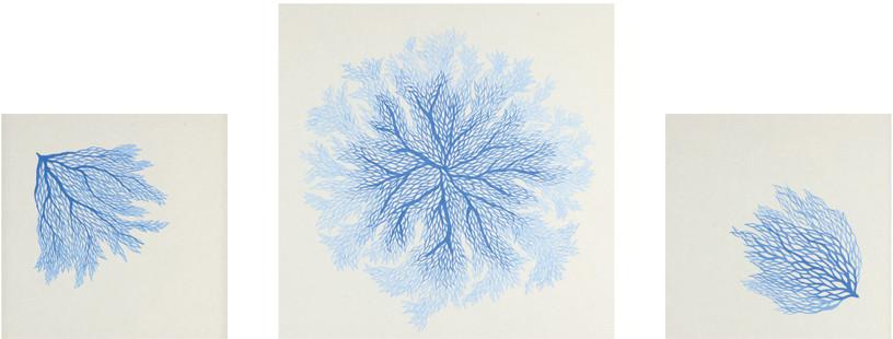 물의 흐름(Water Flow)#4, #5, #6, 2011, korean ink on paper, 30 × 30 cm, 40 × 40 cm, 30 × 30 cm