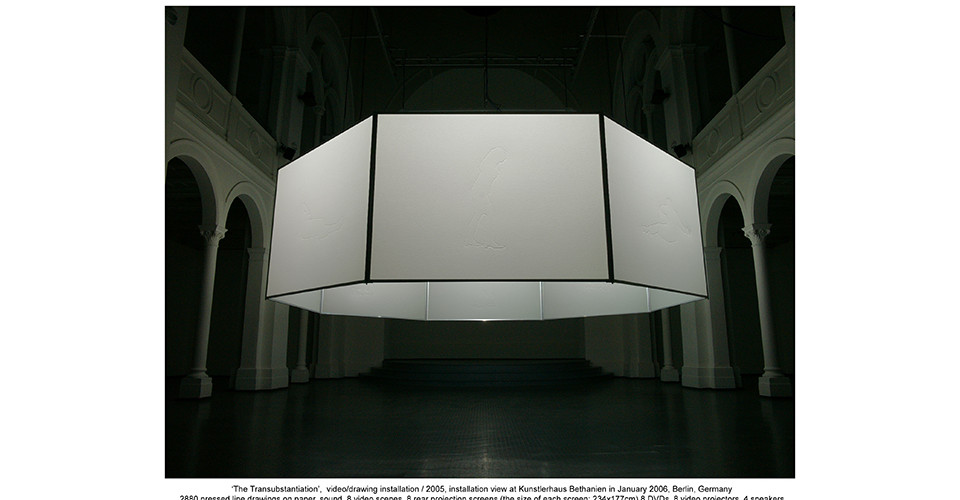 The Transubstantiation, 2005, 2880 pressed line drawings on paper, sound, 8 video scenes, 8 rear projection screens (the size of each screen 234 x 177 cm), 8 DVDs