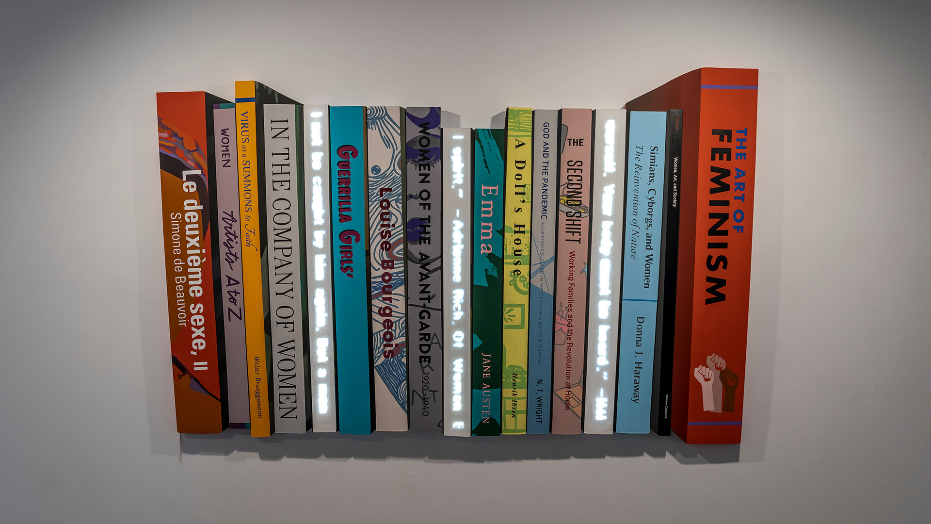 Pile of Books_The Art of Feminism, 2020, Acrylic on shaped canvas, 174.1 x 108.7 x 3.5 cm