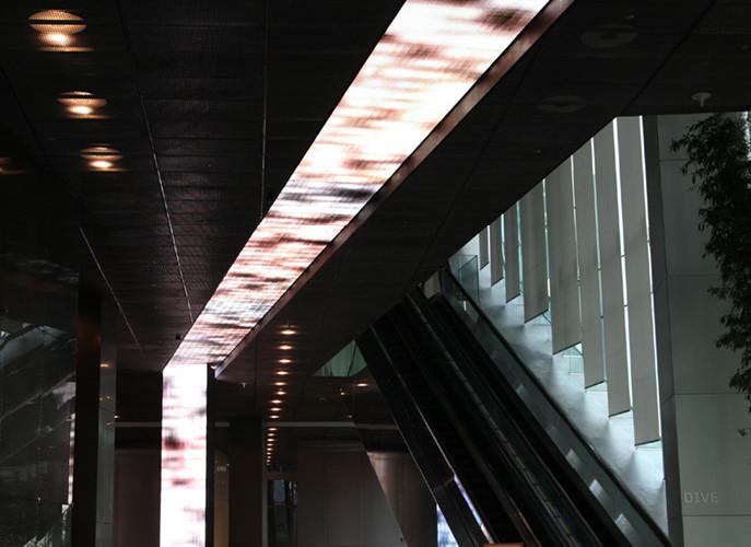 Light Arrays-Uljiro, 2011, Digital video camera, LED display, computer, custome software, celling 3030 x 128 cm, pillar(4ea) 102 x 614 cm