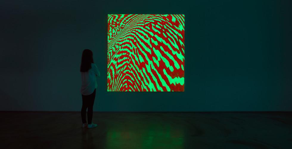 Light Lines, 2018, acrylic & phosphorescent pigment on canvas, 218 x 218 cm