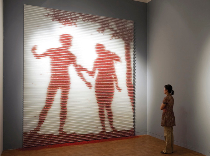 Fragile paradise, 2008, wall installation with safflower, 300 x 360 cm