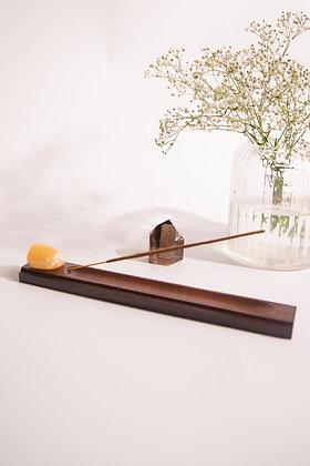 Porta Incenso em Madeira + Cristal Calcita Rolada