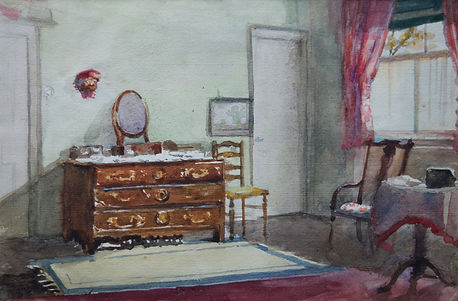 Alma Gogin artist for sale watercolour interior scenes Bloomsbury Brighton SuNicholas Holloway