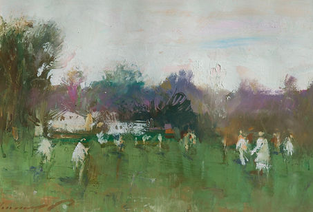 Nicholas Holloway Ken Moroney Cricket Match impressionist art  for sale Irish paintings