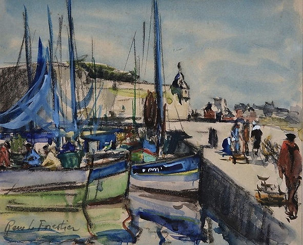 Rene Le Forestier artist for sale Concarneau French watercolour paintings Brittany Breton Nicholas Holloway