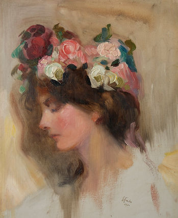 Emil Fuchs artist for sale Nicholas Holloway John Singer Sargent pupil flower girl oil portrait