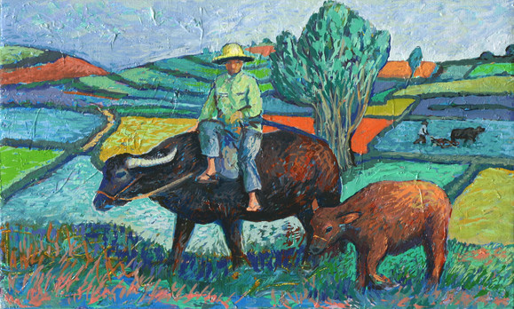 With his Water Buffalo