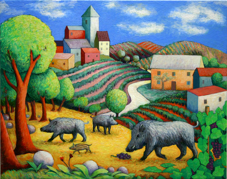 Wild Boars in the Vineyard