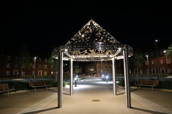 Pavilion lit at night