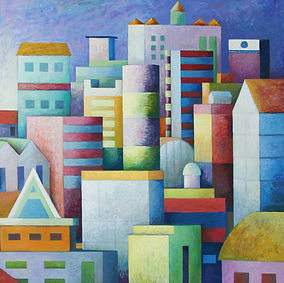1 latest Blue cityscape oil on canvas 36