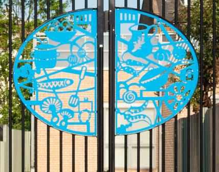 Artwork inside the gate