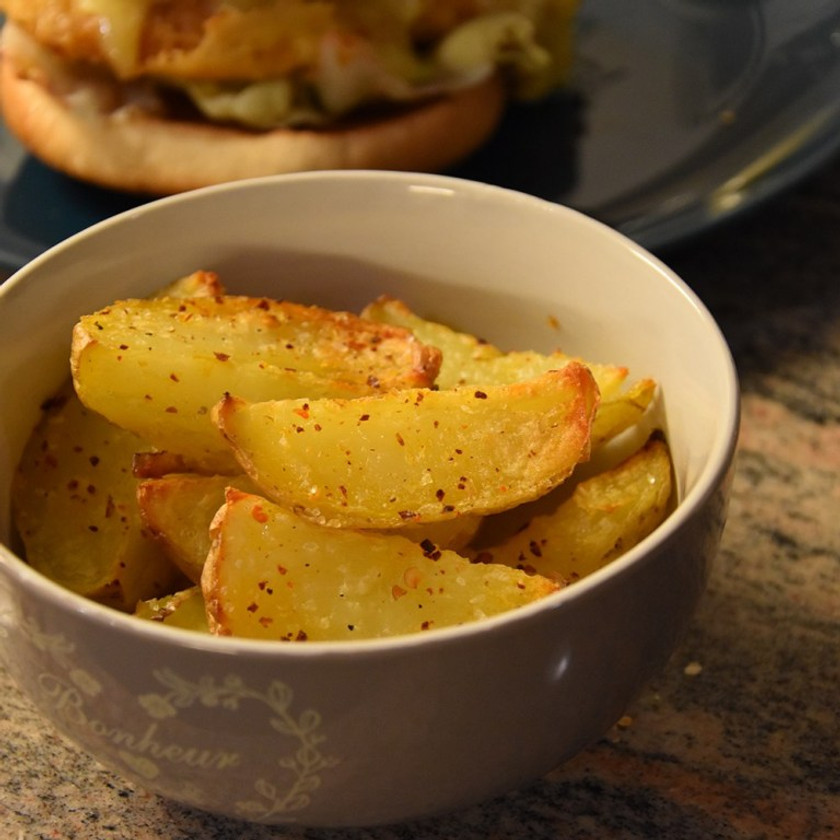 Lazy Potato Wedges, with a Chicken curry burger in background