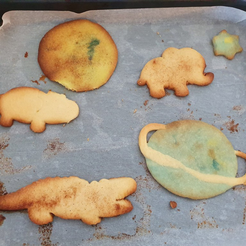 Some of the cool shortbread cookies my son made.